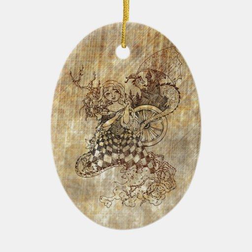Bella durmiente adorno navideño ovalado de cerámica
