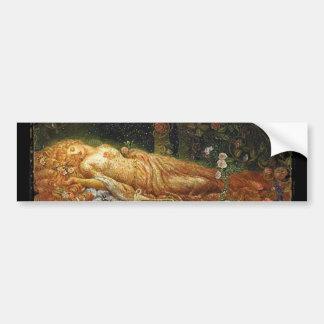 Bella durmiente al lado de una arpa etiqueta de parachoque