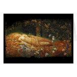 Bella durmiente al lado de una arpa tarjeta de felicitación