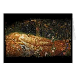 Bella durmiente al lado de una arpa felicitacion