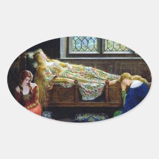 Bella durmiente y las doncellas pegatina ovalada