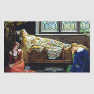 Bella durmiente y las doncellas pegatina rectangular
