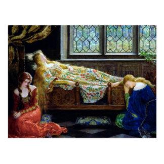 Bella durmiente y las doncellas postal