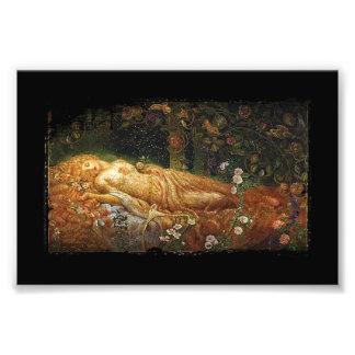 Bella durmiente y una arpa arte fotografico