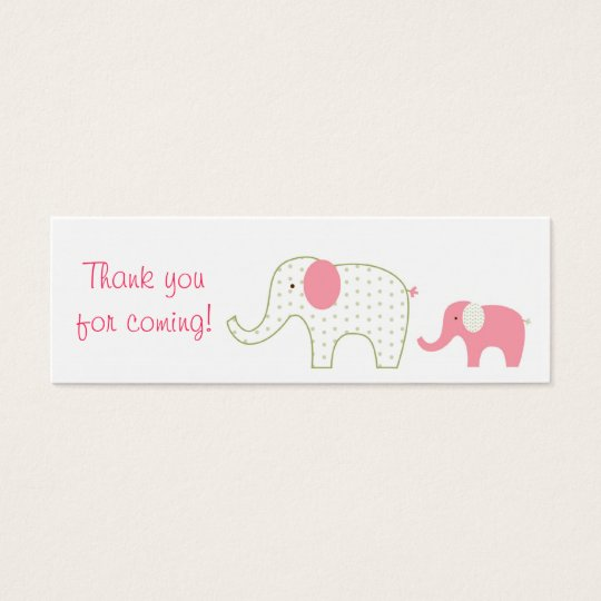 Bella Elephant Pink Baby Shower Favor Gift Tags