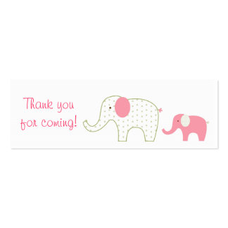 Bella Elephant Pink Baby Shower Favor Gift Tags Double-Sided Mini Business Cards (Pack Of 20)