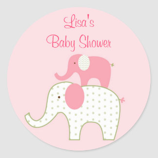 Bella Elephant Pink Envelope Seals Stickers