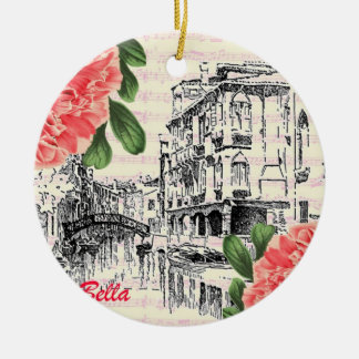 Bella Italy Peony Ceramic Ornament