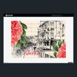 "Bella Italy peony Laptop skin<br><div class=""desc"">Beautiful Italy. Laptop skin with peony botanical,  musical notes and a Italian water canal.</div>"