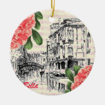 Bella Italy Peony Double-Sided Ceramic Round Christmas Ornament