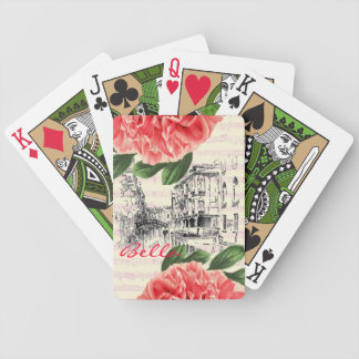 Bella Italy peony Playing Cards