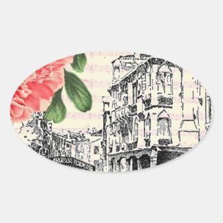 Bella Italy Peony Oval Sticker