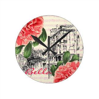 Bella Italy peony Wall Clock