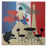 Bella: La baldosa cerámica del gato 08 hermosos Azulejo Cuadrado Grande