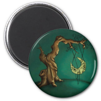 Bella Luna - Moon and Twisted Tree 2 Inch Round Magnet