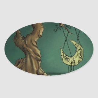 Bella Luna - Moon and Twisted Tree Oval Sticker