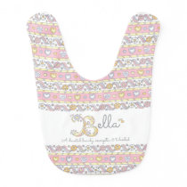 Bella name and meaning hearts pattern baby bib