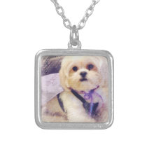 Bella Puppy Power Silver Plated Necklace