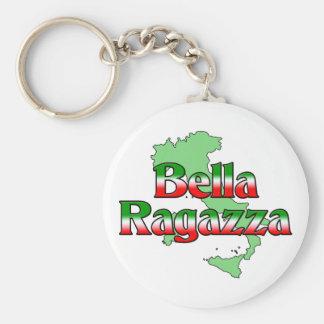 Bella Ragazza (Beautiful Italian Girl) Basic Round Button Keychain