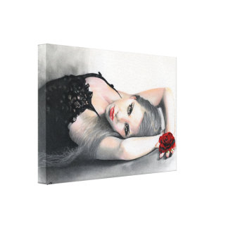 Bella Rosa Beauty red rose Wrapped Canvas print