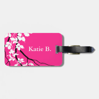Bella Swirling Vines Cherry Blossom | fuchsia Luggage Tag