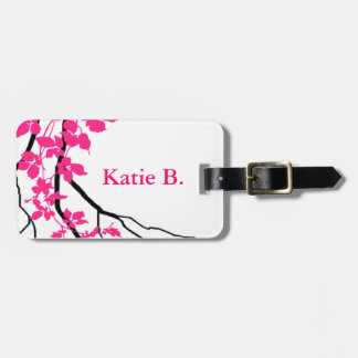 Bella Swirling Vines Cherry Blossom white fuchsia Bag Tag