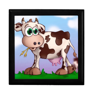 Bella The Cow Eating Hay on a Hill Top Jewelry Box