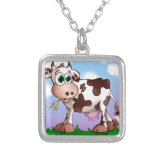 Bella The Cow Eating Hay on a Hill Top Silver Plated Necklace
