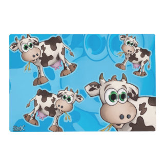 Bella The Cow on blue background placemat