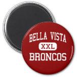 Bella Vista - caballos salvajes - alta - robles ju Imán Redondo 5 Cm