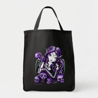 """""""Belladonna"""" Gothic Purple Skull Faerie Cavas Bag"""