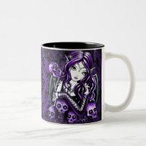 belladonna, purple, skulls, green, fairy, faery, fae, faerie, fantasy, art, myka, jelina, faeries, nymphs, sprites, Mug with custom graphic design