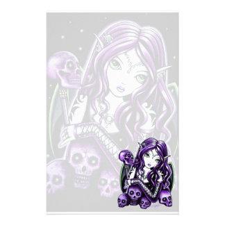 """""""Belladonna"""" Gothic Purple Skull Faerie Stationery"""