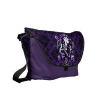 purple, gothic, fairy, fae, faery, fantasy, skulls, art, mykajelina, belladonna, Rickshaw messenger bag with custom graphic design