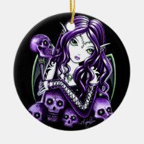 belladonna, purple, skull, fairy, faery, faerie, fae, fantasy, art, big, eyed, myka, jelina, mika, faeries, nymphs, sprites, Ornament with custom graphic design