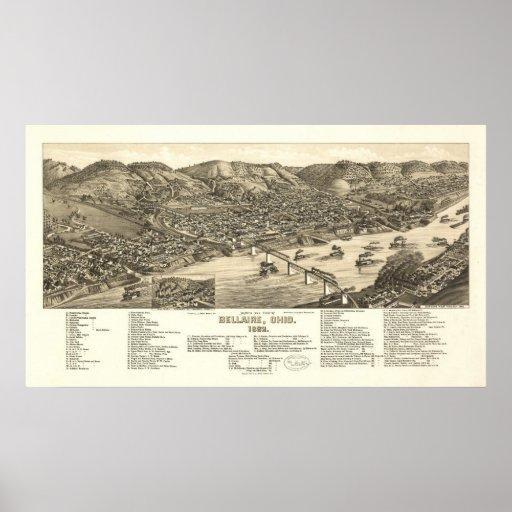 Bellaire Ohio 1882 Antique Panoramic Map Print