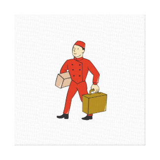 Bellboy Bellhop Carry Luggage Cartoon Canvas Print