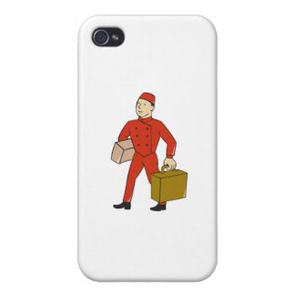 Bellboy Bellhop Carry Luggage Cartoon Case For iPhone 4