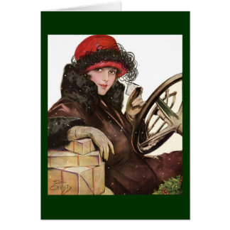 Belle, a vintage lady Christmas shopping Card