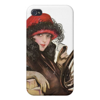 Belle, a vintage lady Christmas shopping Case For iPhone 4
