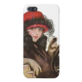 Belle, a vintage lady Christmas shopping Cover For iPhone SE/5/5s