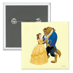 Square Button with Beauty and the Beast dancing design