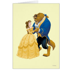 Greeting Card with Beauty and the Beast dancing design