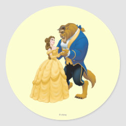 Round Sticker with Beauty and the Beast dancing design