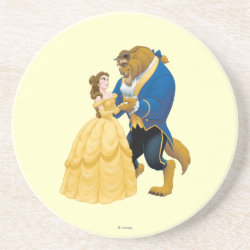 Sandstone Drink Coaster with Beauty and the Beast dancing design