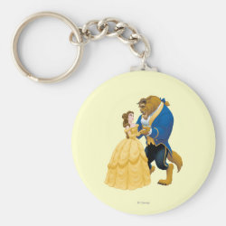 Basic Button Keychain with Beauty and the Beast dancing design