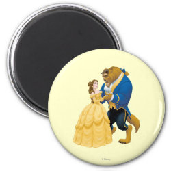 Round Magnet with Beauty and the Beast dancing design