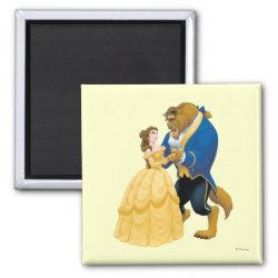 Square Magnet with Beauty and the Beast dancing design