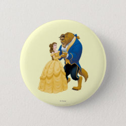 Round Button with Beauty and the Beast dancing design