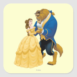 Square Sticker with Beauty and the Beast dancing design